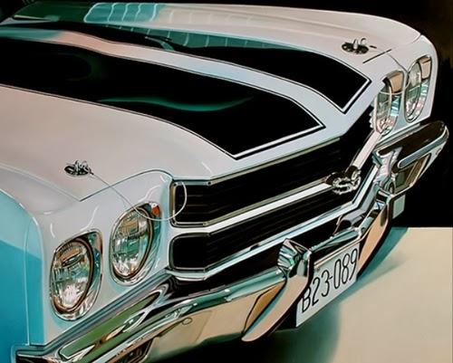 01-White-Chevelle-Cheryl-Kelley-Chrome-Muscle-Cars-Hyper-realistic-Paintings-www-designstack-co