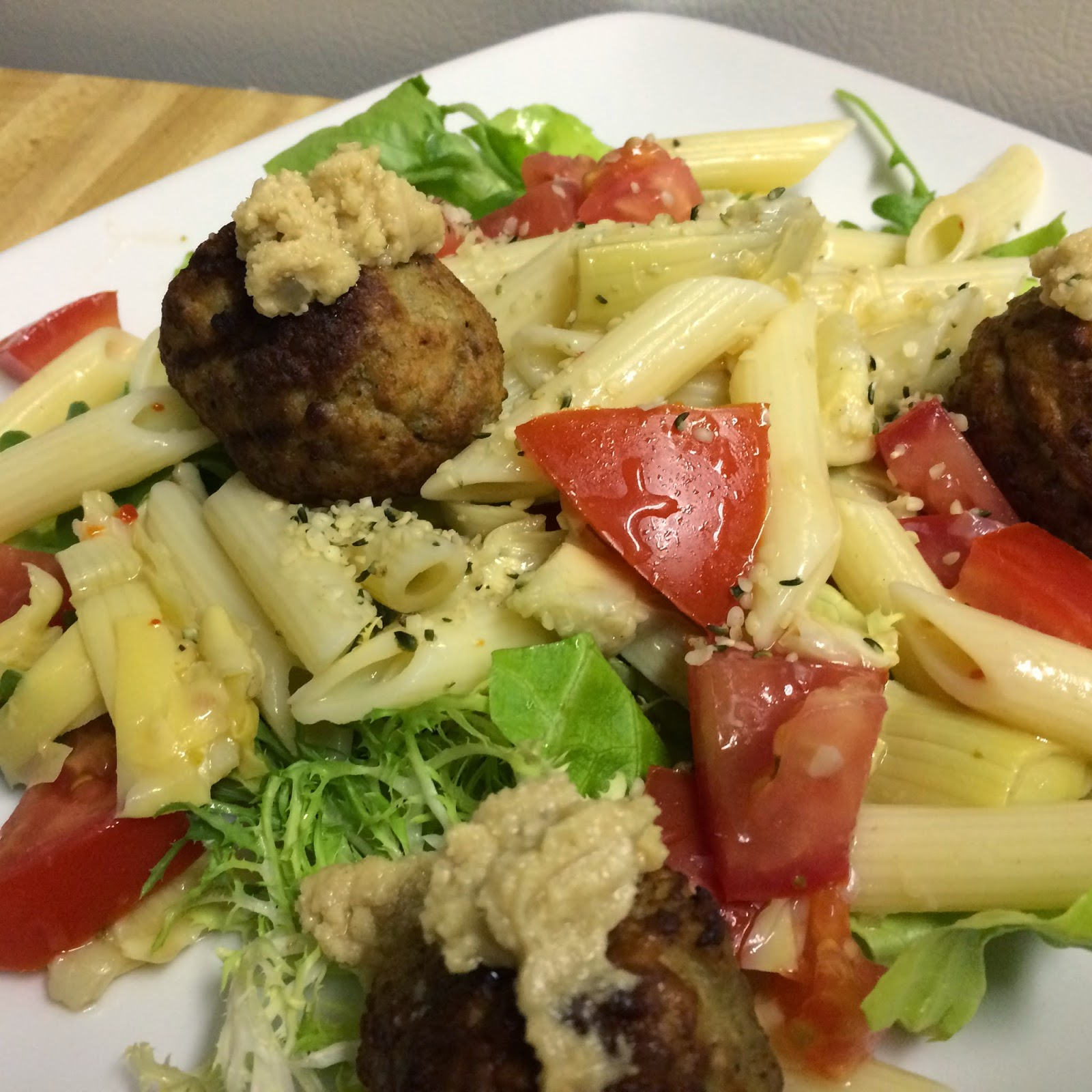 Tahini Pasta Salad with Turkey Meatballs