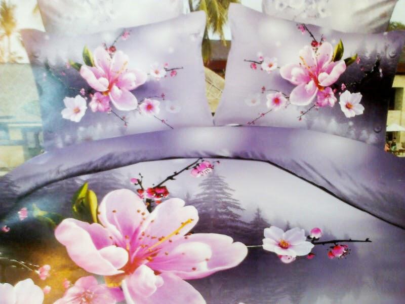 Sprei Cantik Motif Panel Bunga Pink