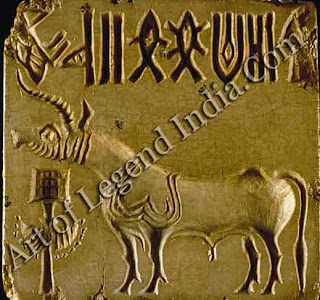 A bull standing before a censer. The most common symbol on Indus civilization seals, it suggests the connection with Iranian religion