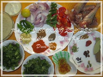 Country Chicken / Nattu Kozhi Dum Biryani Ingredients