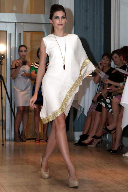 White grecian style dress by Singapore based Iranian designer Bahareh Badiei
