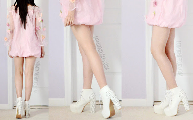 Romwe's boat neck floral organza applique dress is great for showing off your legs, as shown here with white spiked Jeffrey Campbell Lita platform booties dupes.