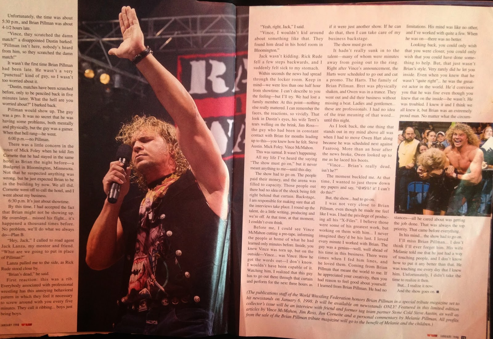 WWE: WWF RAW MAGAZINE - January 1998 - A report on the day Brian Pillman died