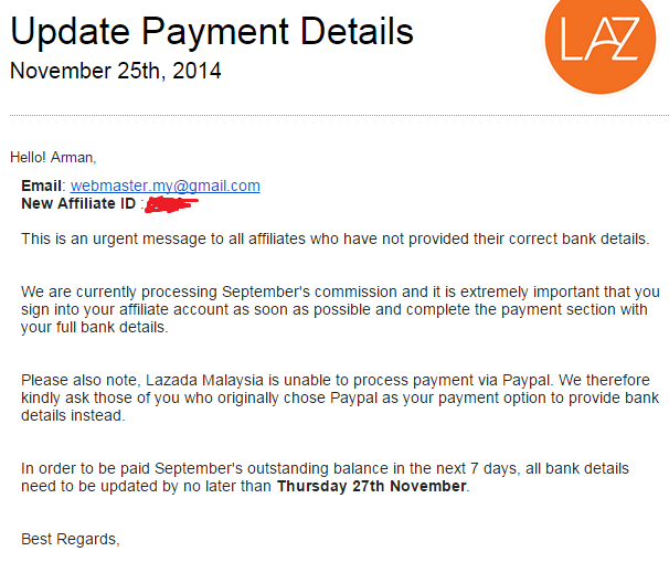 payment affiliate lazada