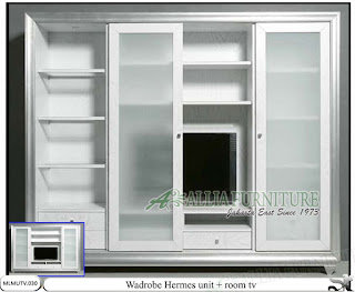 Lemari minimalis sliding tv unit Hermes