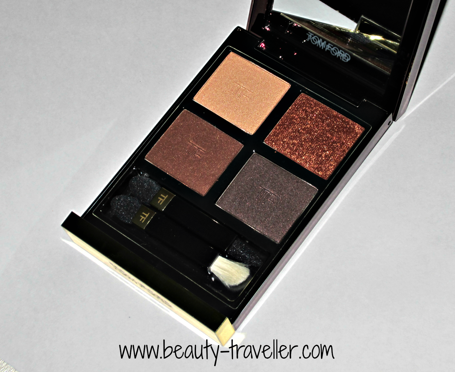 Review And Tutorial Tom Ford Eyeshadow Quad In Cognac Sable