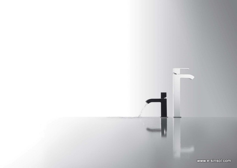 Griferia Vidrio Cascada Para Baño Diseno Elegancia:Grifos de lavabo cascada, negro con cascada cerrada y sin maneta