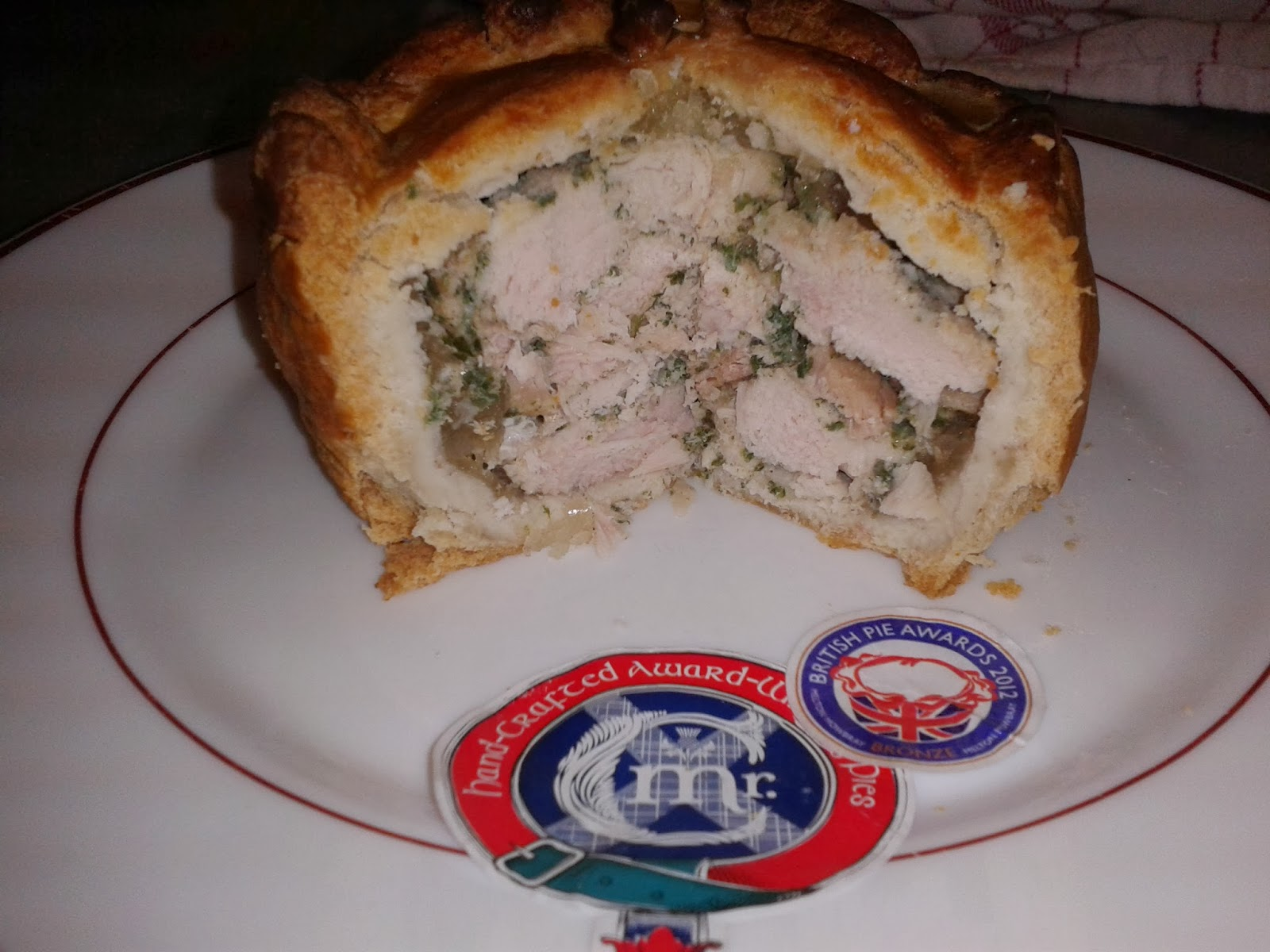 Mr C's Handcrafted Chicken & Ham Pie Cross-section
