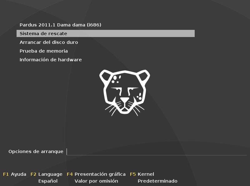 """Reinstalar grub desde el DVD """"Sistema de rescate"""" de Pardus.  Sistema+de+rescate+pardus+GNU%25E2%2581%2584Linux"""