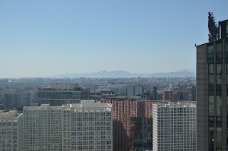 Beijing CBD looking northwest  from Yintai with mountains in background