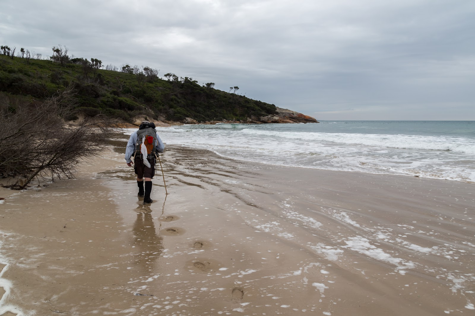 approaching lighthouse point three mile beach wilsons promontory