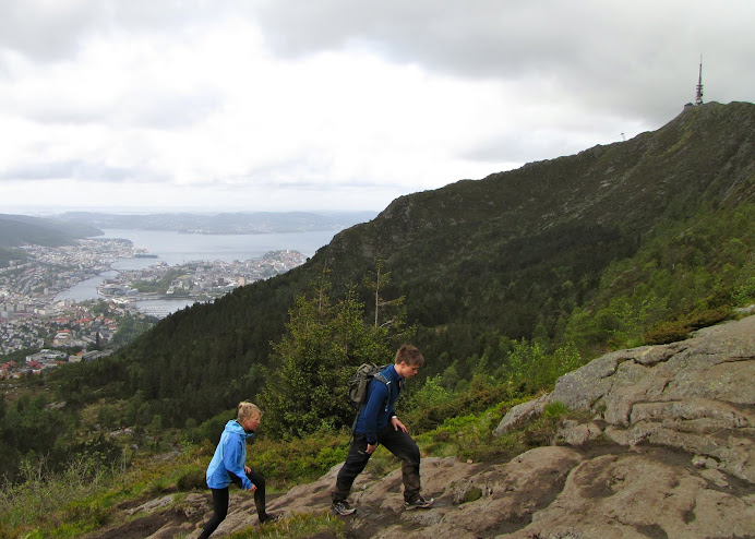 Climbing Ulriken, Bergen below
