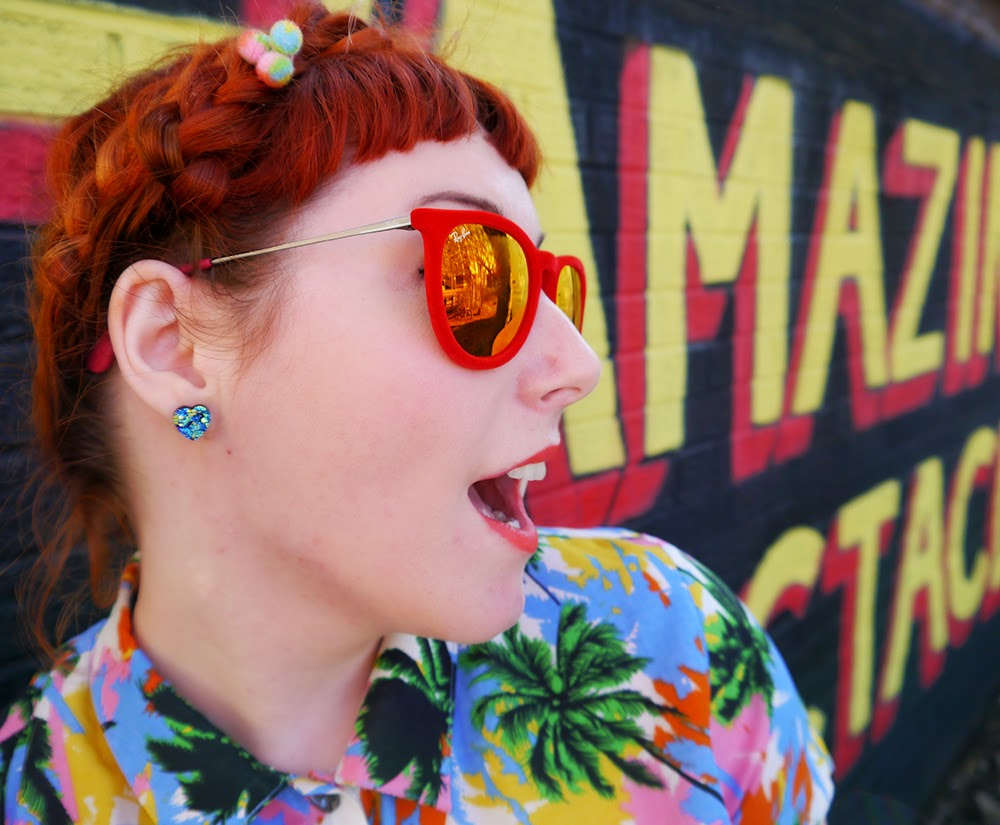 Scottish Blogger, Red Head, Ginger, Styled by Helen, Dundee, Amazing Spectacles, Graffiti, Tropical shirt, Luna on the Moon, Hair Slides, pom pom, Sun Glasses Shop, velvet sunglasses, rayban, Ray-Ban, Cheap Frills heart earrings, bright outfit, summer outfit, summer style, Abandon Ship, Kewpie tote bag, Rock Cakes brooch, Bonnie Bling name ring