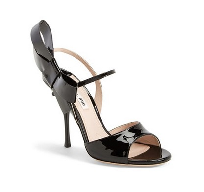 Miu Miu black high heels with bow on side