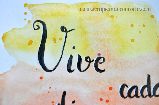 Lámina acuarelas caligrafía lettering scrapbooking