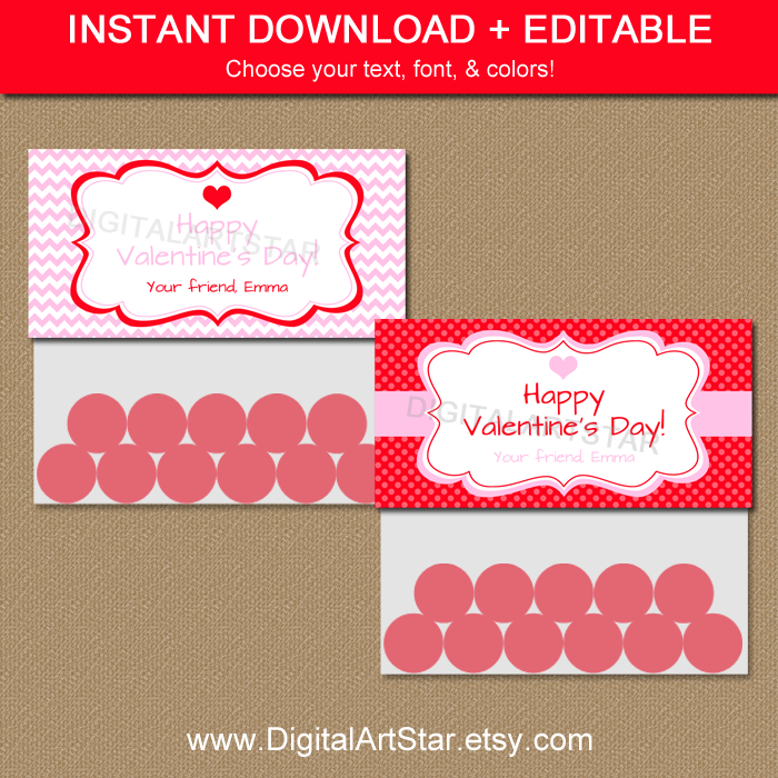Printable Valentine Bag Toppers in Pink and Red