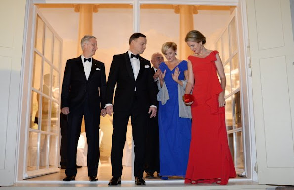 King Philippe of Belgium and Queen Mathilde of Belgium, Polish President Andrzej Duda, First Lady of Poland Agata Kornhauser-Duda