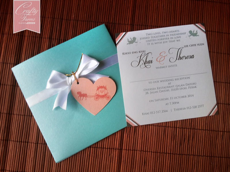Fairytale Turquoise and Pink Wedding Card with customized design.