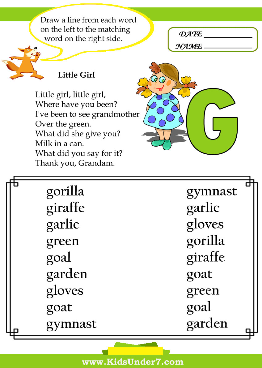 Kids Under 7: Letter G Worksheets
