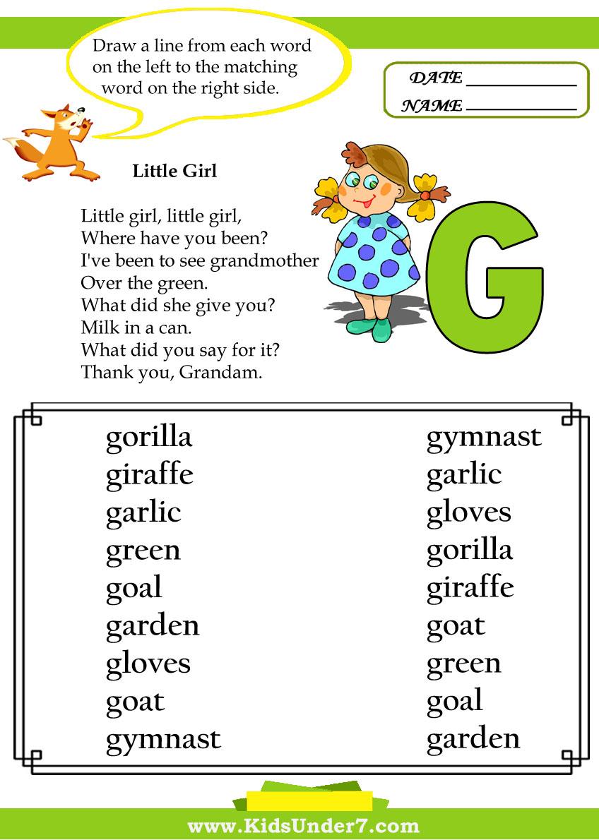 math worksheet : kids under 7 letter g worksheets : G Worksheets For Kindergarten