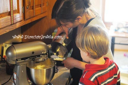 Director Jewels Baking Christmas Cookies With Toddlers