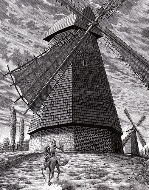 07-Tilting-At-Windmills-Douglas-Smith-Scratchboard-Drawings-Through-Time-and-Lives-www-designstack-co