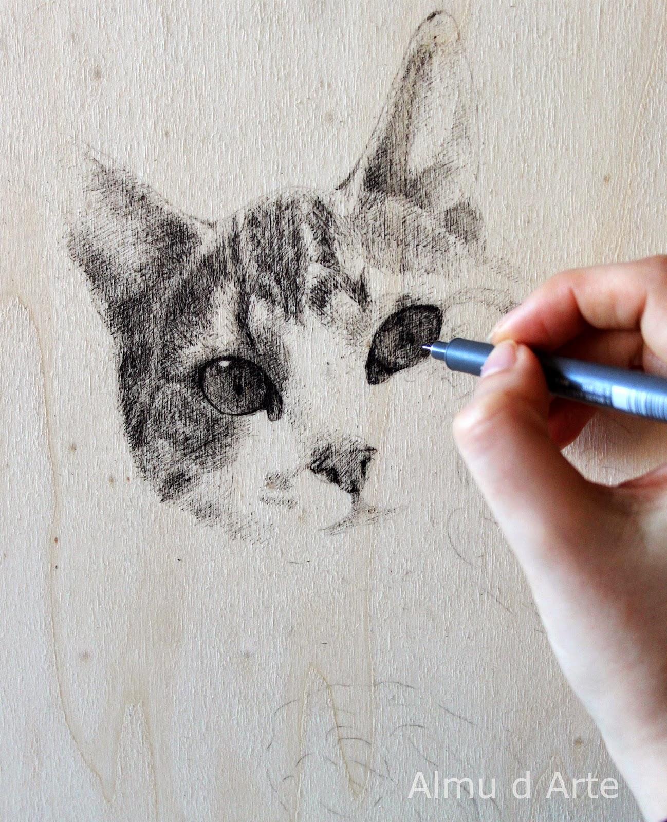 Hacer un dibujo de un gato a tinta