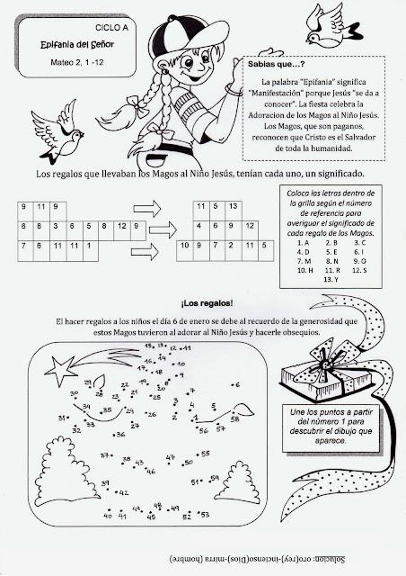 Parroquia La Inmaculada: Ficha para colorear con actividades La Epifanía