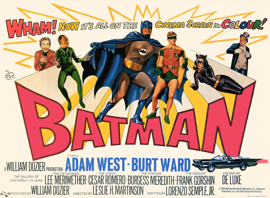 Vintage Batman movie posers on sale at eBay and (the first two) Amazon