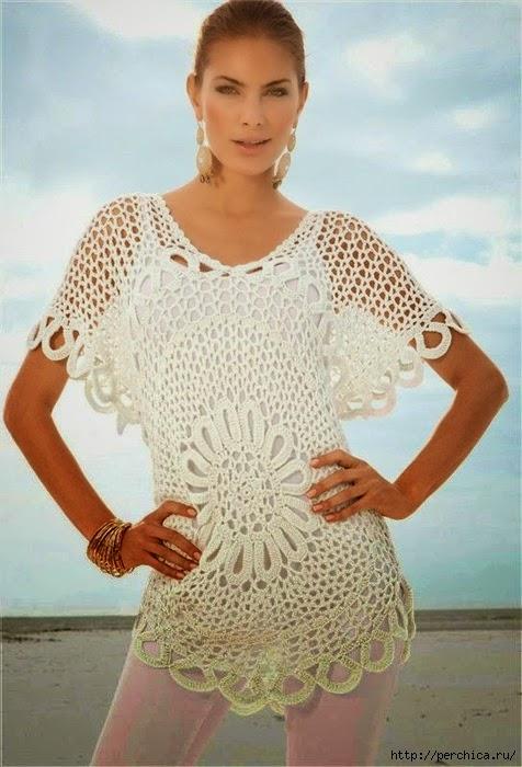 Blusa centro de flor - con patrón | Crochet y Dos agujas - Patrones ...
