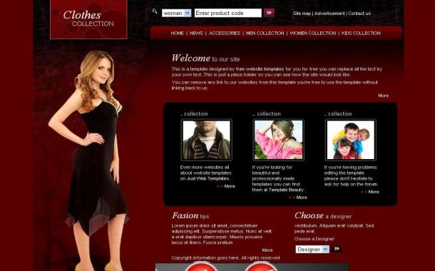 Free CSS Fashion Dark Red Black Website Template