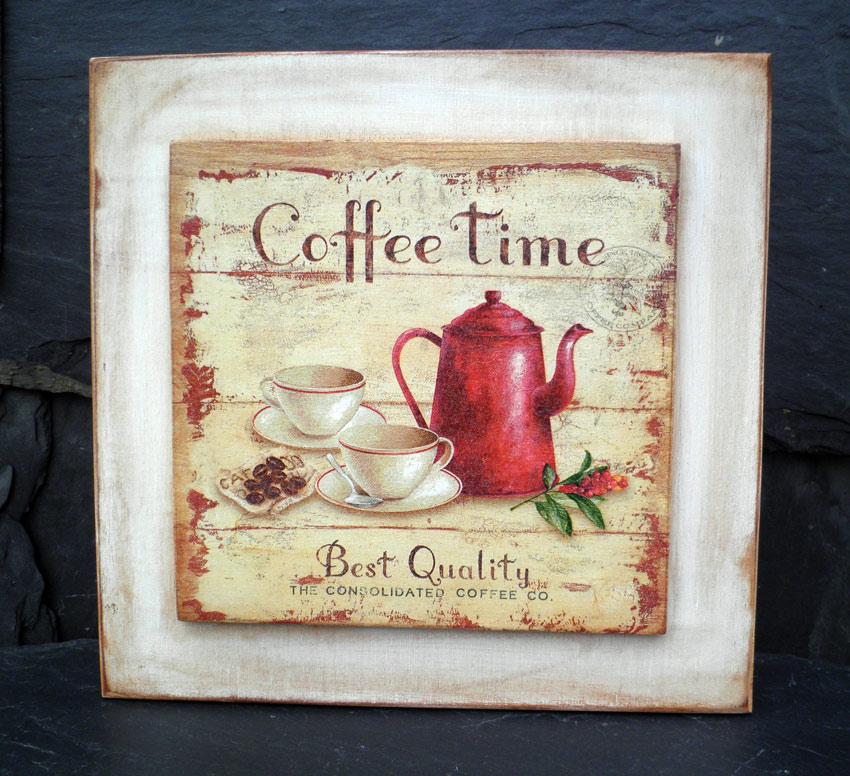 Retazos de madera cuadros de cafeteras y pastelitos - Laminas para cuadros de cocina ...