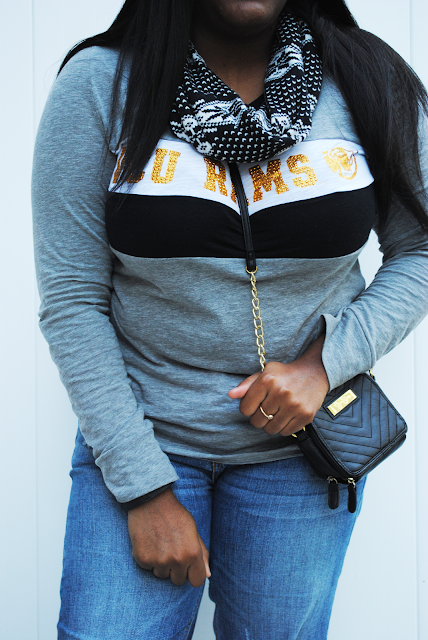 An outfit inspiration post featuring a VCU shirt from Victoria's Secret PINK, boyfriend jeans, and Roshe Run One.