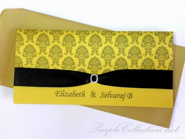 black damask, pearl gold card 250g, satin ribbon, wedding card, indian, tamil, printing, unique, special, handmade, hand crafted, malaysia, kuala lumpur, selangor, online, portfolio