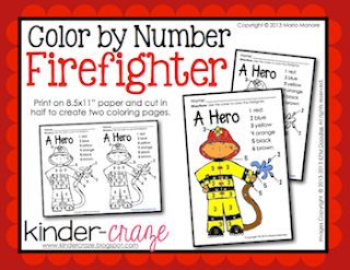 FREE color by number firefighter