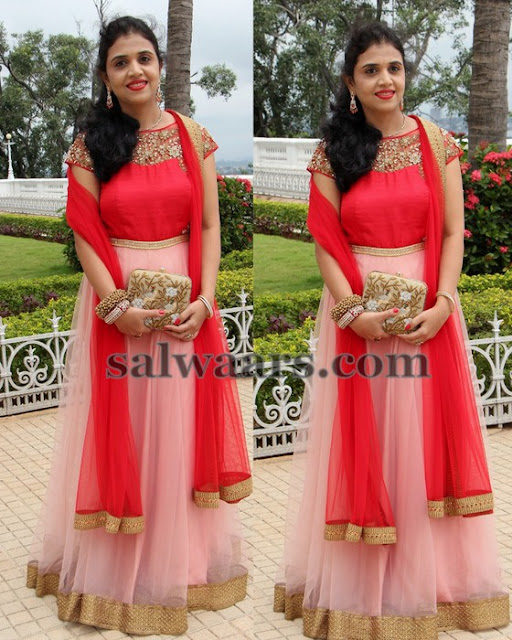 Light Peach Red Floor Length Salwar