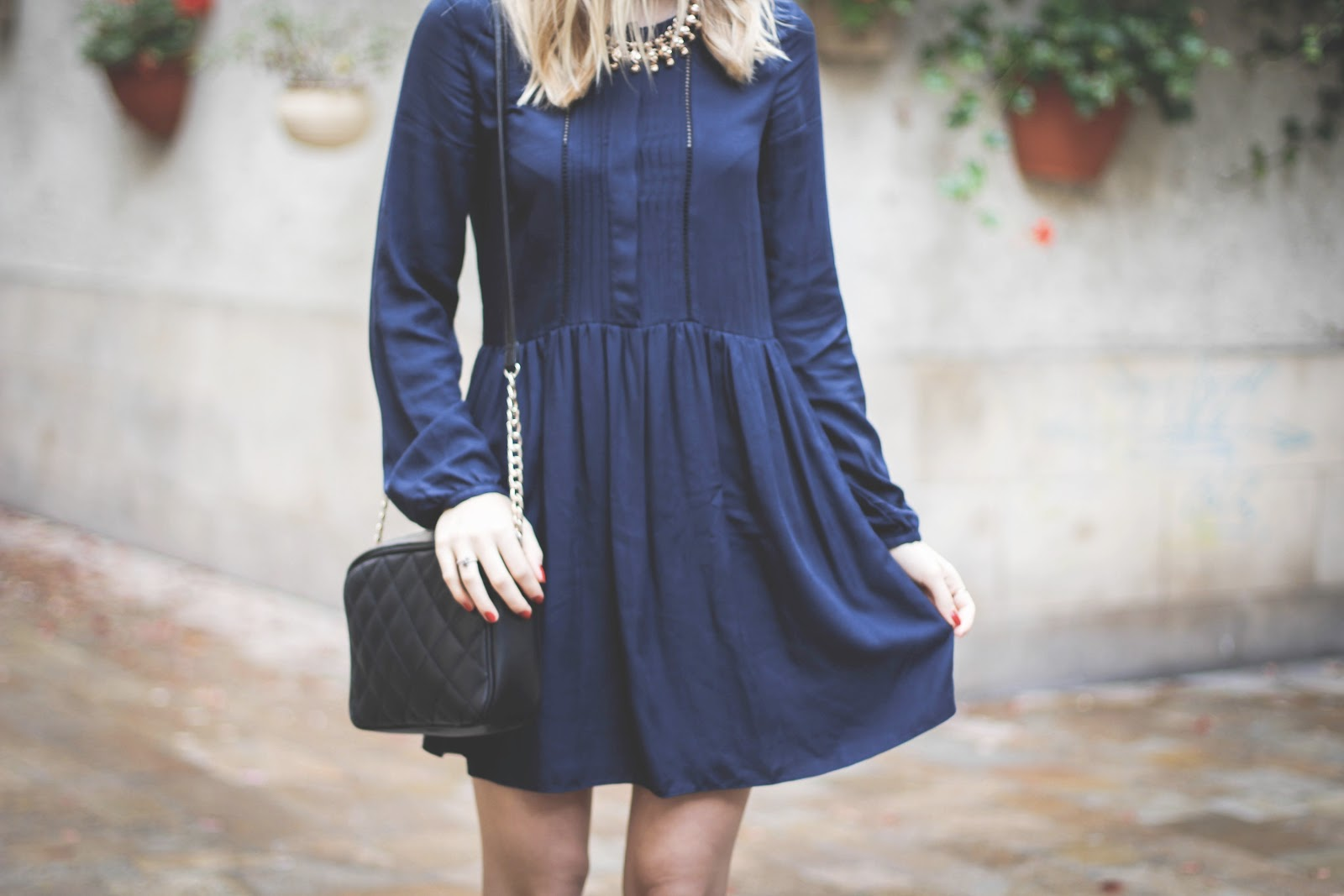 Zara navy pleated loose smock dress