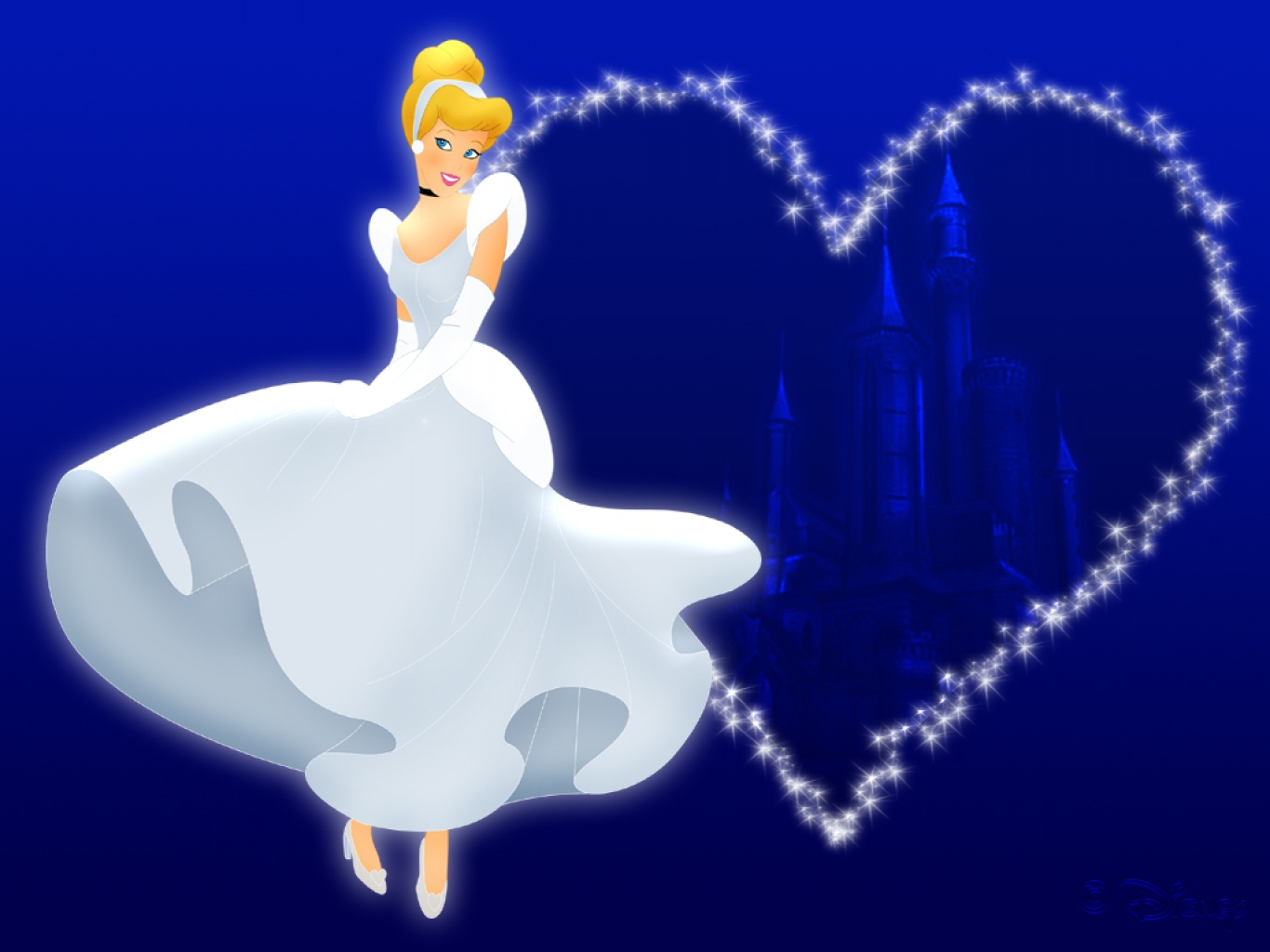 Wallpaper free download Cinderella with blue background:Child Coloring ...