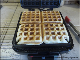 waffles just cooked in the waffle maker