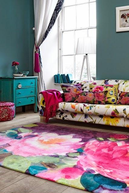 Floral bright color sofa
