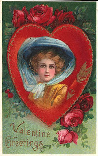 antique glossy gel valentine postcard post card, pretty lady