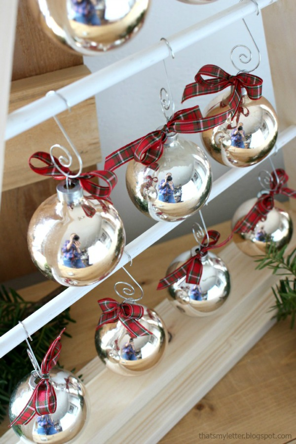 wood tree shape with hanging ornaments