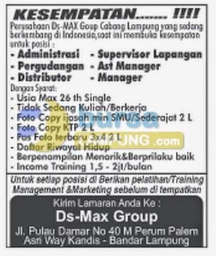 Karir lampung Ds-Max Group Terbaru... Lowongan Kerja Admin, Lowongan Kerja Manager, Lowongan Kerja asisten manager