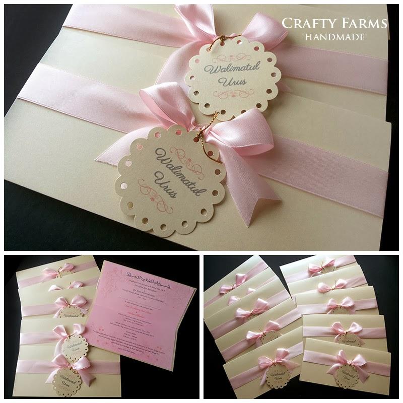 Wedding Card Malaysia | Crafty Farms Handmade : Soft Pink Bow Modern Malay Wedding Cards