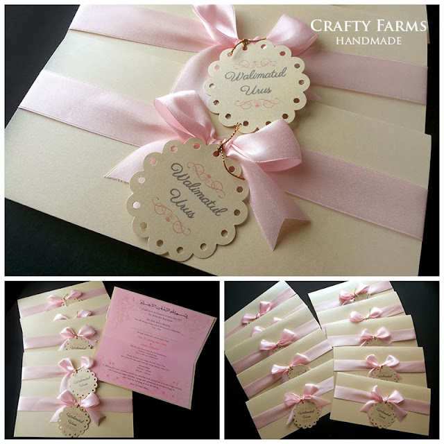 Wedding Card Malaysia Crafty Farms Handmade : Soft Pink Bow Modern ...
