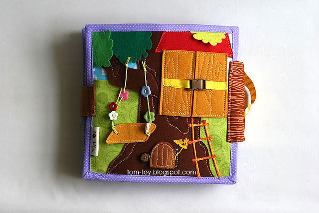 Handmade quiet book Dollhouse, busy book for girl, treehouse, Развивающая книжка Кукольный домик, домик на дереве, сад