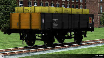 Fastline Simulation - VEA Vans: A slightly weathered ODV in Railfrieght Distribution livery loaded with a military branded crate.