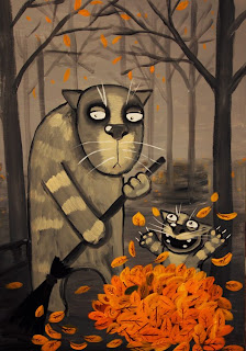 Little kitten is playing with fallen leaves while his granny gathering them. Funny pictures, cats, comics
