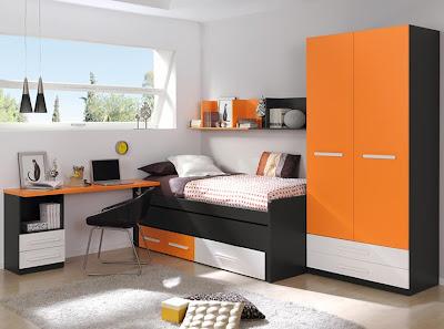dormitorio negro y naranja